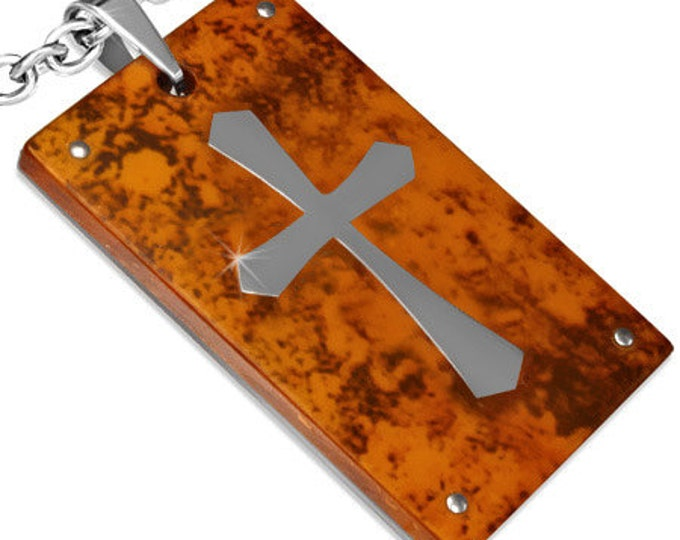 1 Pendant - Beautiful Stainless Steel Cross pendant with wooden inlay - ST005G