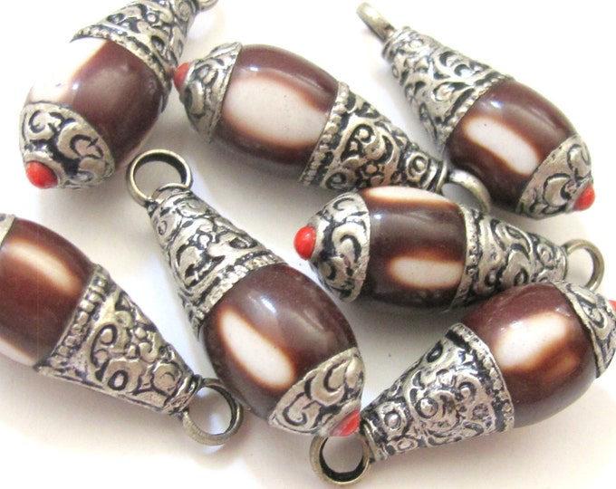 Tibetan silver brown resin small size pendant with floral design on bail - PM209G