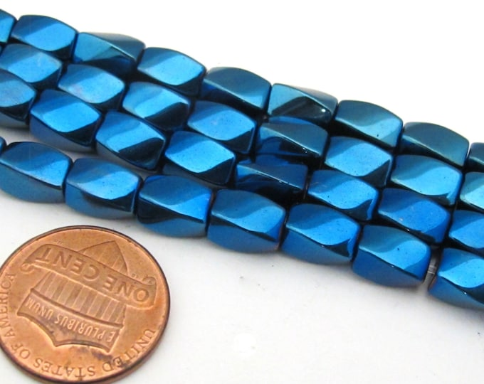 50 beads  - Electrifying Blue color magnetic hematite gemstone Beads   - GM411