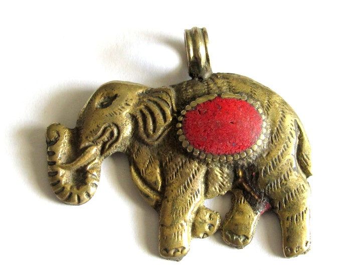 1 Pendant - elephant pendants -Tibetan brass elephant pendant antiqued finish with coral inlay Lotus flower carving - PM526B