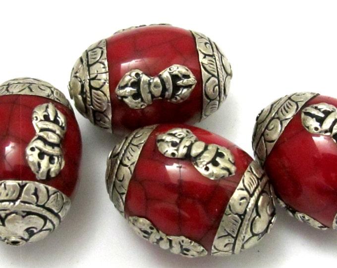 2 beads -Large Tibetan red crackle resin capped beads with tibetan dorje vajra symbol - BD627