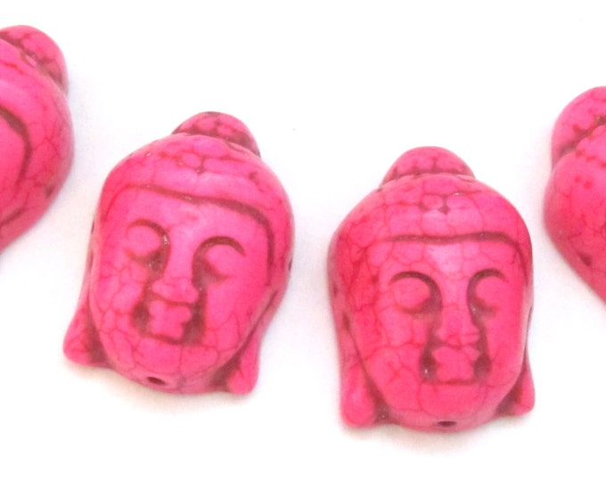 2 BEADS - Hot Pink color turquoise howlite carved Buddha bead  - BD702