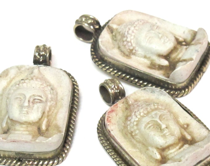 2 Pendants Tibetan white cream color Buddha face pendant antiqued look - Nepal ethnic pendant - PS001A copyright Nepalbeadshop