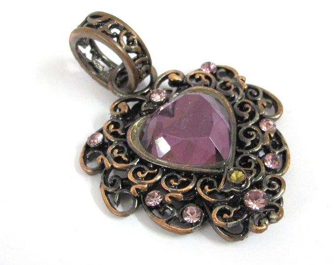 1 pendant - Beautiful heart pendant antiqued copper color finish with faceted purple rhinestone - MG007A