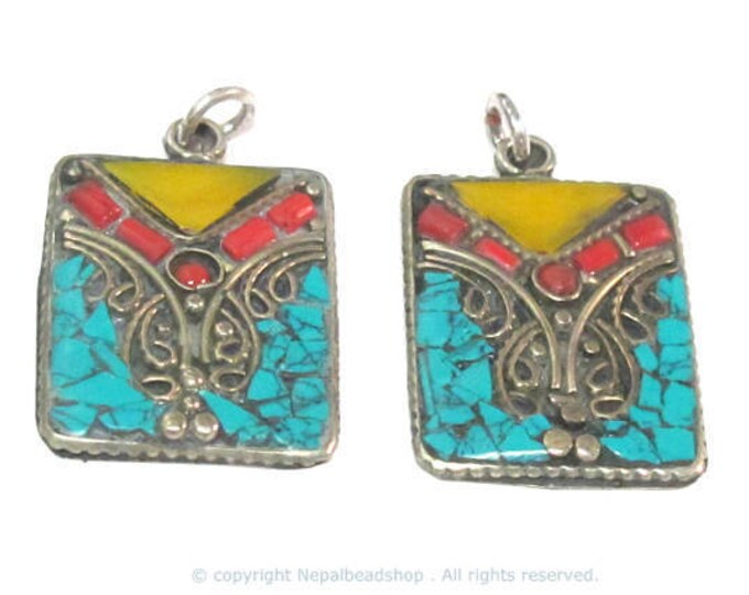 2 pieces - Rectangular square shape Tibetan silver charm pendant with mosaic turquoise coral copal inlay - PM573Ax