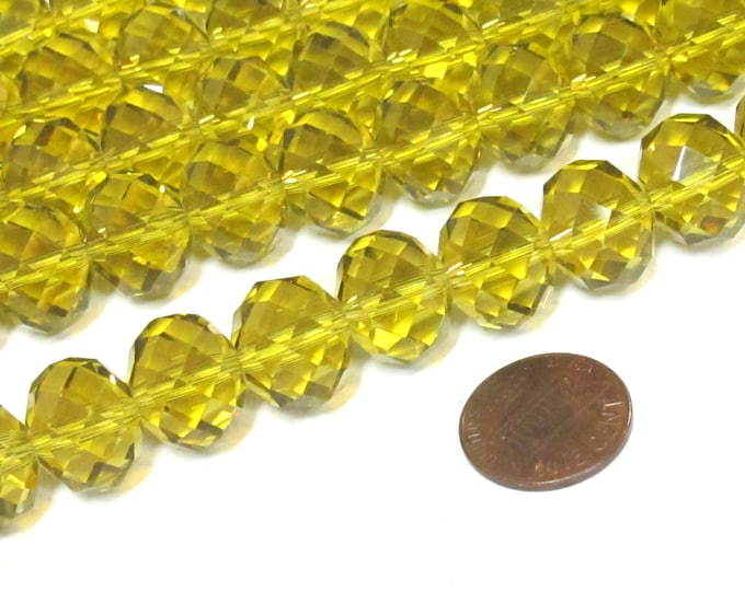 10 beads - Beautiful Large 15 mm size Faceted rondelle shape honey yellow shiny color AB crystal glass beads - AB033K