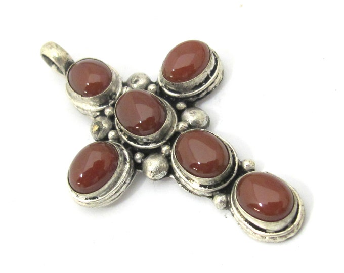 1 Pendant - Tibetan silver agate gemstone cross pendant from Nepal - PM230L