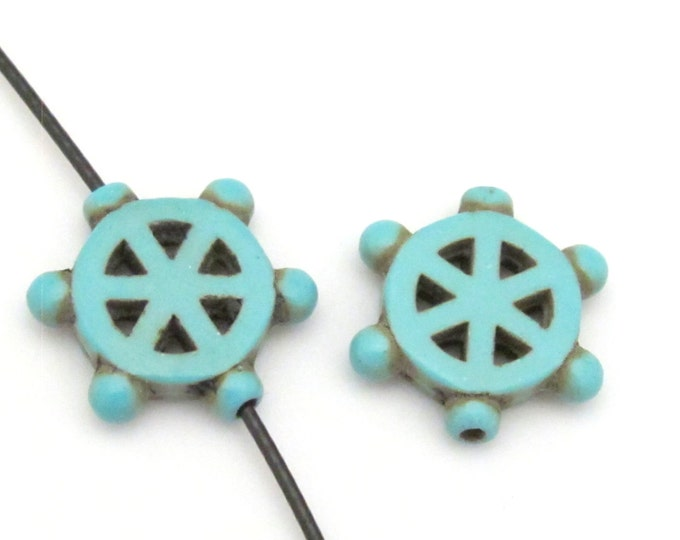 2 Beads - Turquoise howlite  Dharma wheel symbol beads set - BD654A