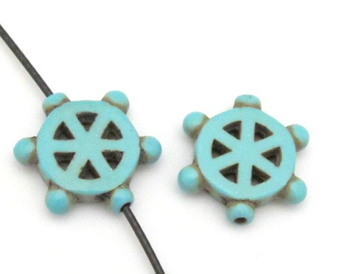 4 Beads - Turquoise howlite  Dharma wheel symbol beads set - BD654A