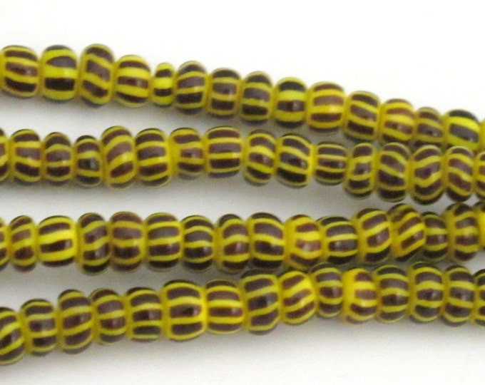 Very Small tiny size African yellow striped african glass beads - 25 beads - BD314