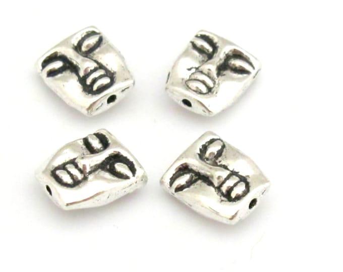 Tribal mask design metal  beads dual sided - 4 bead set - 12 mm - BD667