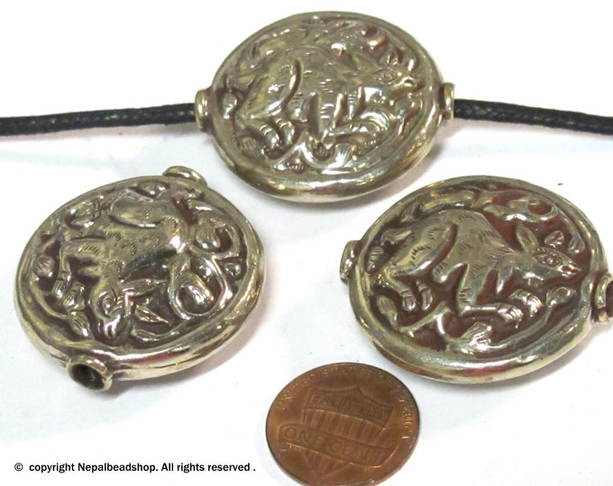 1 Bead - Large size Tibetan antiqued silver color finish repousse rabbit design focal bead -  BD424B