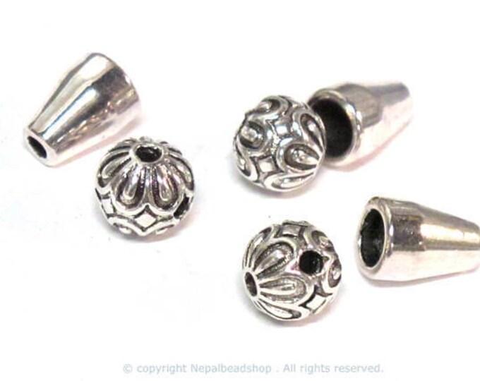 3 sets -  Guru bead set - Tibetan lotus flower petal design  3 hole Guru bead 8 mm x 9 mm with column bead set - GB061s