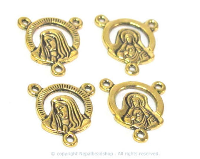 4 pieces - Rosary center medal piece connectors antiqued golden color small charms dual sided  - rosary making - GB064