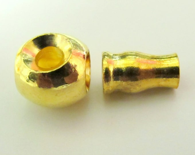 1 SET -  3 hole Guru Bead gold tone plated metal bead set   - GB001