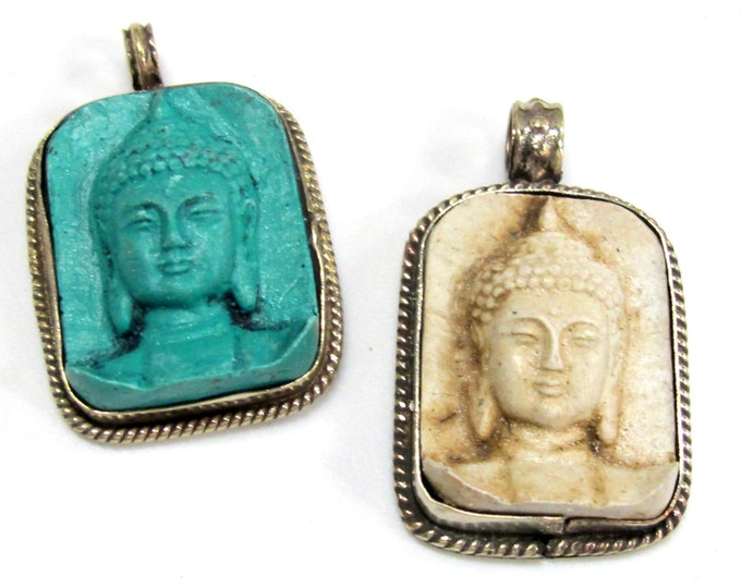 2 Pendants - Tibetan pendants Tibetan buddha pendants green color and cream white color Buddha face Tibetan pendants from Nepal - PS001G