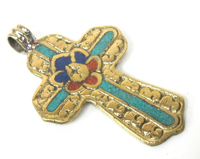 1 Pendant - Large Tibetan solid Brass cross pendant with lotus floral carving turquoise coral lapis inlay - PM565C Copyright Nepalbeadshop