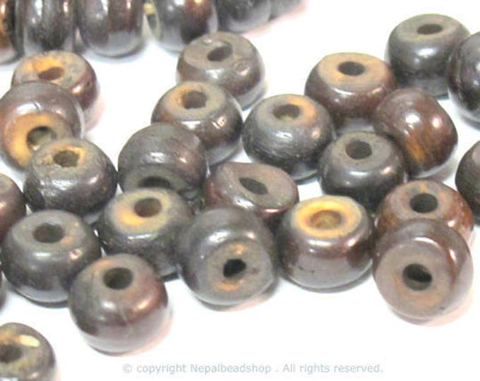25 bone Beads - Dark Brown color Tibetan bone beads rondelle shape 8 mm size -   ML112C