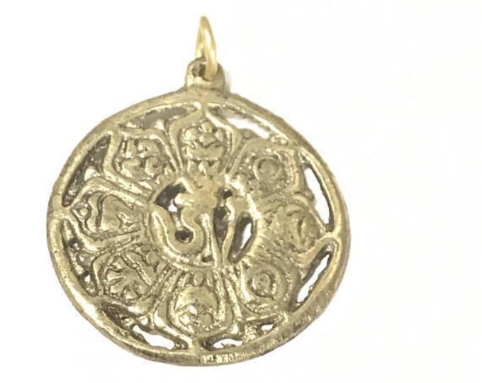 Medium Tibetan brass lotus flower ashtamangala auspicious symbols Om pendant - CP126
