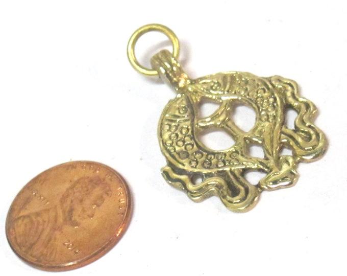 1 Pendant - Ethnic Tibetan Two golden fish auspicious Buddhist symbol charm Brass pendant Nepal - CP021C