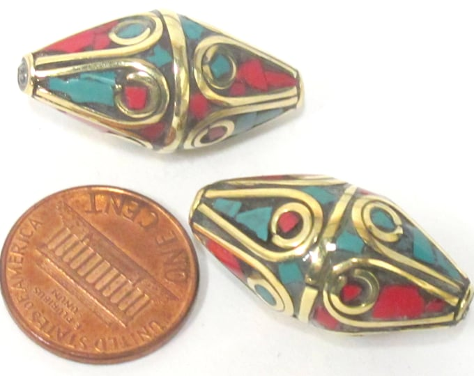 1 Bead - Large Bicone shape nepalese brass bead with turquoise coral inlay - BD960