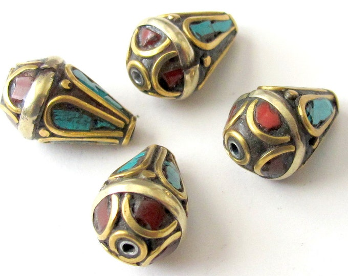 1 Bead - Tibetan beads -Brass bead with turquoise coral inlay - BD017