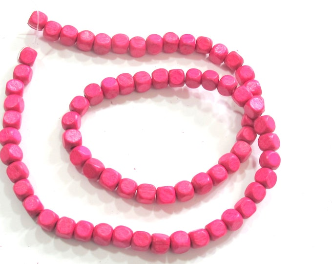 1 Strand - Fuschia Pink color wood beads hot pink wooden cube shape beads 6 mm Light weight beads full strand  - 16 inches - STR012