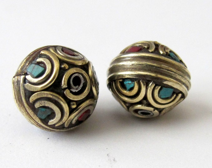 Nepali beads inlaid with turquoise and coral - 1 bead-BD022