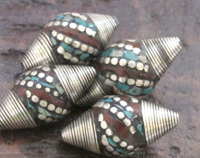 2 BEADS - Large bicone Tibetan silver bead with turquoise coral dotted  inlay - BD523