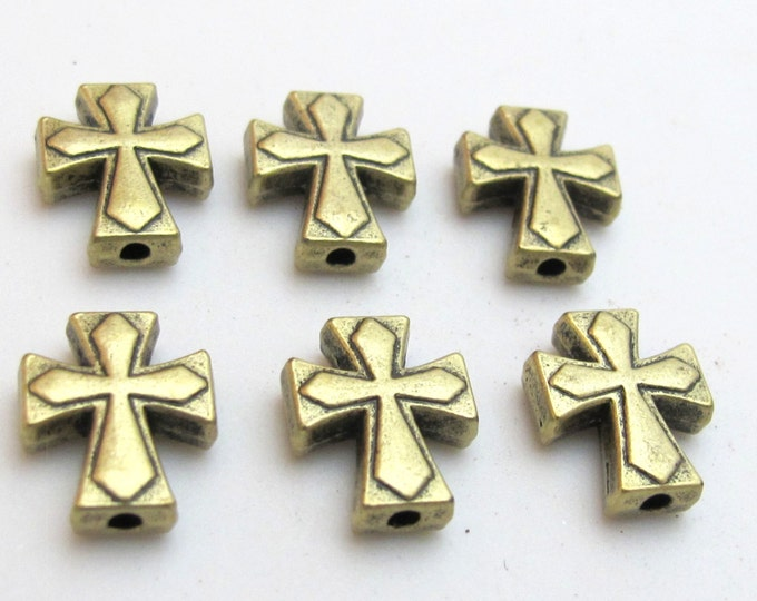 Brass tone metal cross beads - 10 beads - BD433