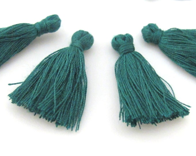 4 Pieces  - Small mini size dark green color silky tassel charms tassle fringe mala supply 1 inch - TS010