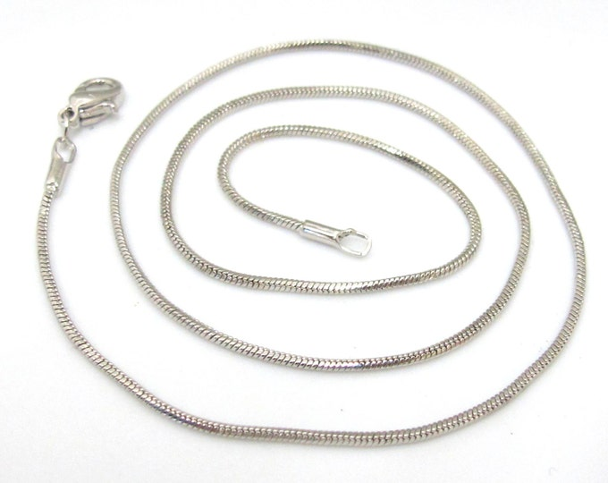1 chain - 16 inches high quality rhodium plated snake chain necklace supply  - LN014