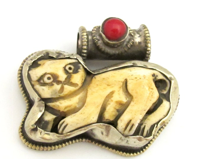 Tibetan silver carved bone Cat pendant with coral inlay and reverse side flower repousse - PM345C