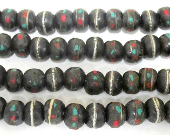 50 bone beads -  10 - 11 mm size Tibetan black brown color bone mala beads with turquoise coral inlay- ML040B