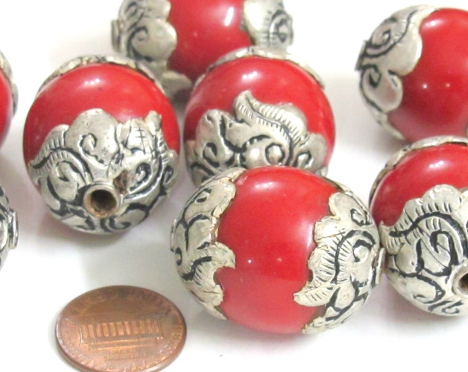 2 Beads - Tibetan red color resin capped floral design Nepal beads big bold size - BD741C