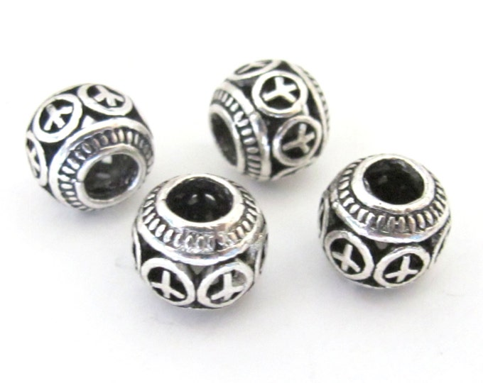 4 BEADS - Antiqued silver retro Peace symbol rondelle shape large hole beads - BD585