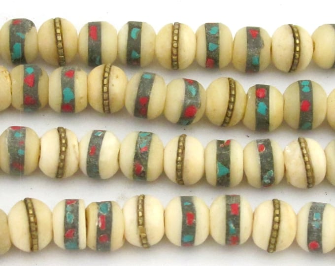 10 Beads- Rondelle ethnic Tibetan bone beads white cream color with turquoise coral inlay 10 mm  - NB130