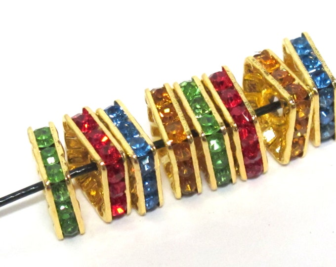 8 Beads - Sparkly bling crystal rhinestone inlaid gold color square brass frame beads - 10 mm size - BD947
