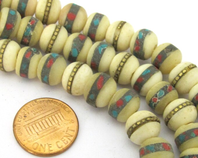 50 beads - 10 mm Tibetan ivory white color bone mala turquoise brass coral inlay beads -  ML039B