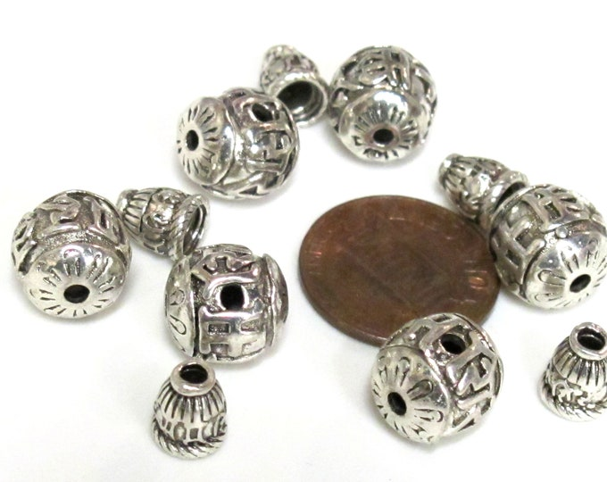 3 Guru beads - Tibetan silver 3 hole Om mantra 10-11 mm size Guru Bead with Om mantra column bead - GB069s