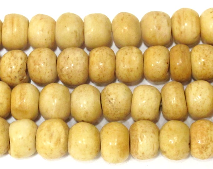 10 Tibetan bone  beads - 10 mm size - Tibetan brownish tan cream color bone beads - ML098B