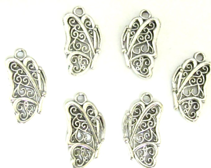10 pieces - Dual sided cute butterfly charms antiqued silver tone small size - CM119