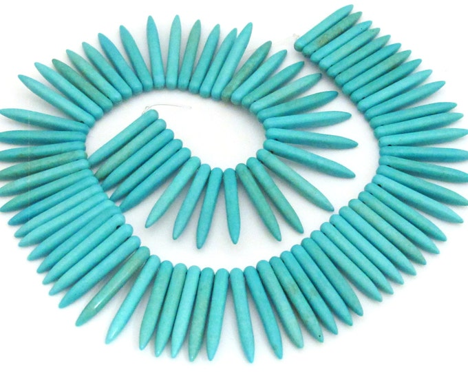 1 Full Strand  - Turquoise blue magnesite gemstone spike stick beads 35 mm x 5 mm  - GM327