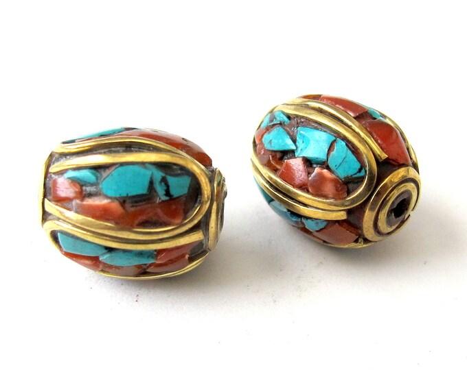 Tibetan beads with turquoise inlay  - 2 beads -BD005