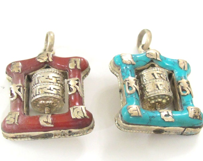 Set of 2 pendants - Rustic crude finish Tibetan red and blue color spinnable buddhist prayer wheel pendants - PM113R