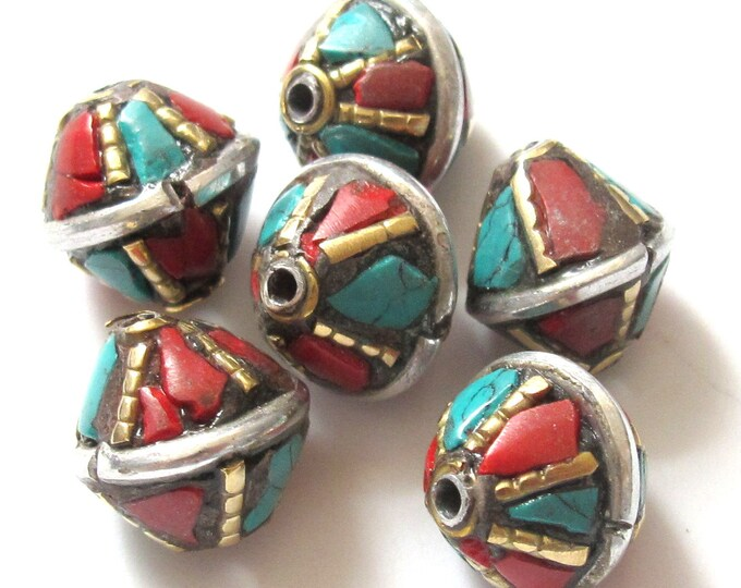 Nepalese brass bead with turquoise coral inlay - 1 bead - BD234