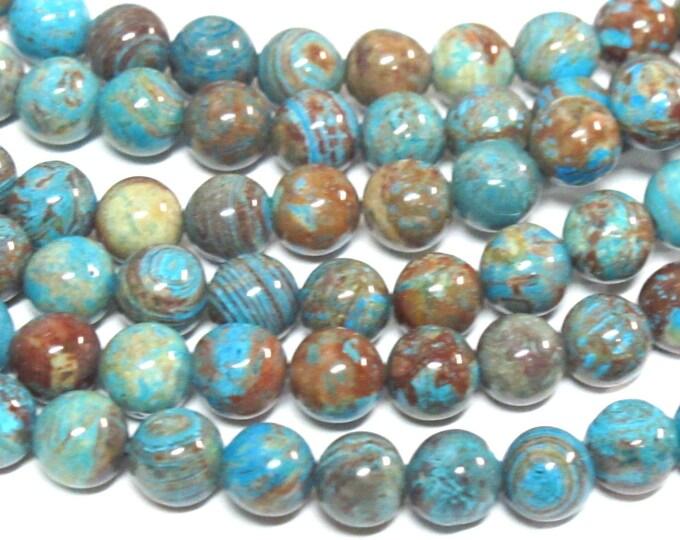 20 Beads - Gorgeous Blue brown swirls Jasper gemstone beads 6 mm size - GM424