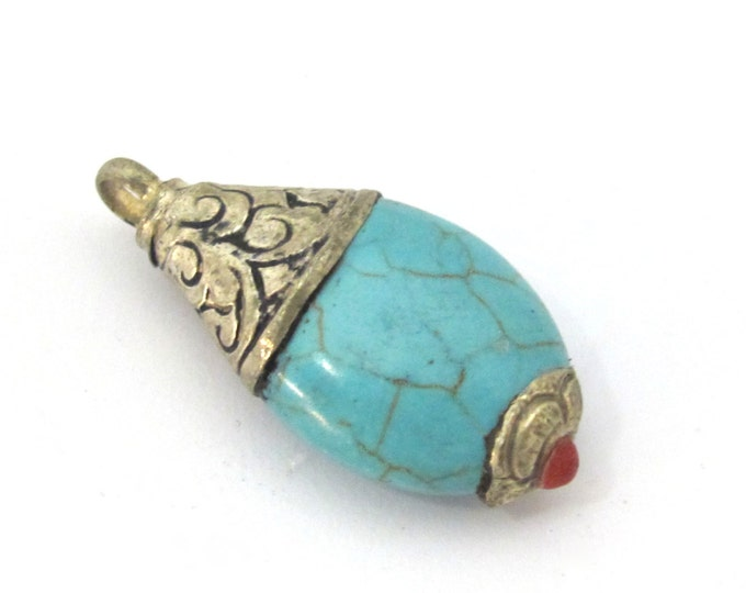 1 Pendant - Tibetan silver teardrop shape turquoise pendant from Nepal with floral carved bail -  PM467