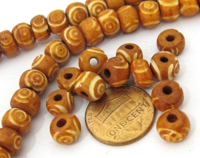 20 Beads - Tibetan carved circles bone beads 8 mm size  - ML037B
