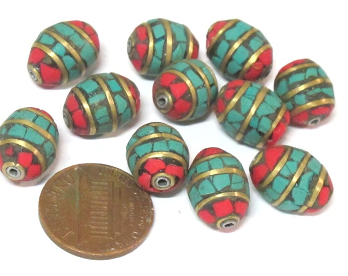 2 beads - Tibetan Nepal beads Red blue mosaic band design brass beads with turquoise  inlay   - BD898E